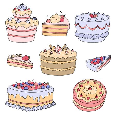 trozo de pastel: Cake dessert graphic color isolated set illustration vector