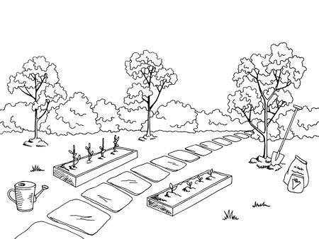 jardín de mercado gráfico negro paisaje blanco ilustración vectorial boceto