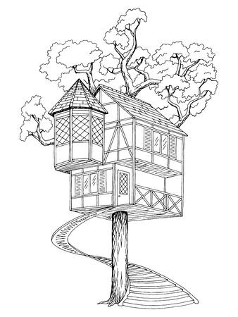 Árbol de la casa gráfico blanco negro boceto ilustración vectorial