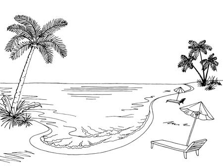 graphique paysage blanc esquisse illustration vecteur noir Sea coast