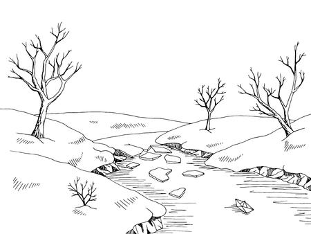 on white: Spring river graphic black white landscape sketch illustration vector