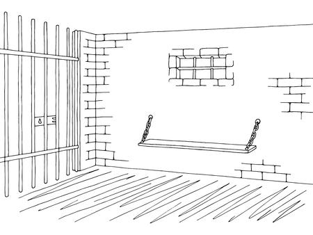 correctional officer: Prison jail interior graphic black white sketch illustration vector Illustration