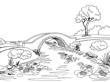 Puente gráfico negro paisaje blanco ilustración vectorial boceto Ilustración de vector