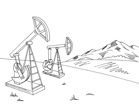 extraction: Oil extraction graphic black white landscape sketch illustration vector Illustration