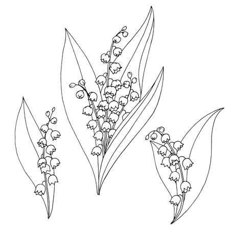 スズランの花グラフィック黒白い分離スケッチ イラスト  イラスト・ベクター素材
