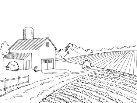 Farm field graphic black white sketch illustration vector