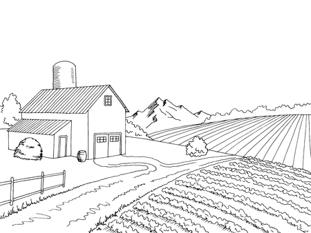 Farm field graphic black white sketch illustration vector