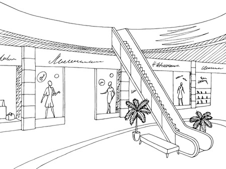 Shopping mall graphic black white interior sketch illustration vector Ilustracja