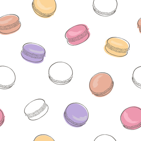 macaroon: Macaroon graphic color sketch seamless pattern illustration vector