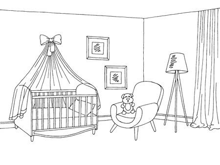 赤ちゃんルーム グラフィック ブラック ホワイト インテリア スケッチ イラスト