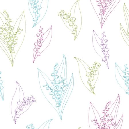 スズランの花グラフィック カラー スケッチ シームレス パターン イラスト