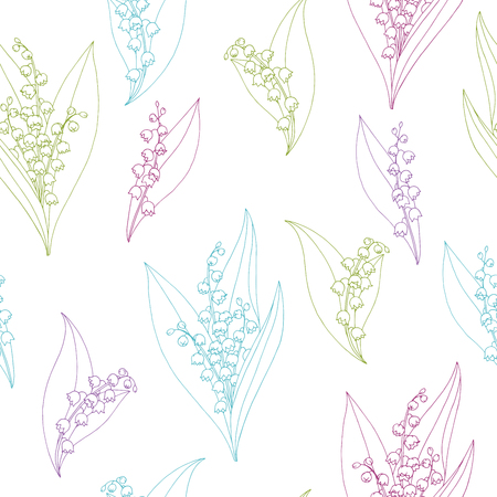 Lily of the valley flower graphic color sketch seamless pattern illustration vector