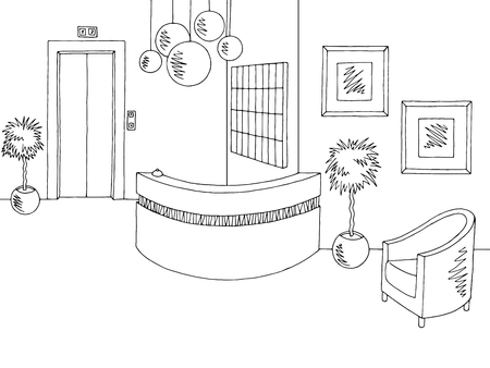 tree service pictures: Hotel reception lobby interior graphic black white sketch illustration vector
