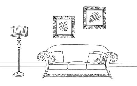 home furniture: Living room graphic black white interior sketch illustration vector