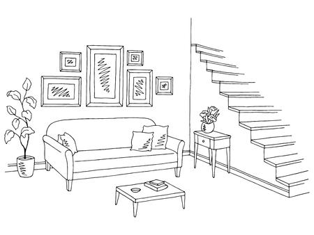 リビング ルーム グラフィック ブラック ホワイト インテリア スケッチ イラスト