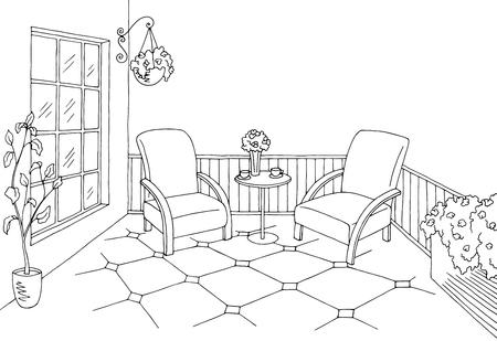Vettore interno bianco nero grafico dell'illustrazione di schizzo del balcone