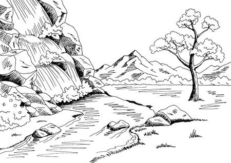 white: Waterfall graphic black white landscape sketch illustration vector