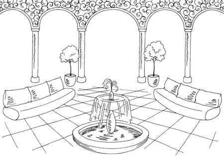 harem: Hall graphic black white interior sketch illustration vector Illustration