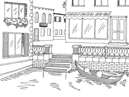 Town river graphic black white sketch illustration vector Ilustração