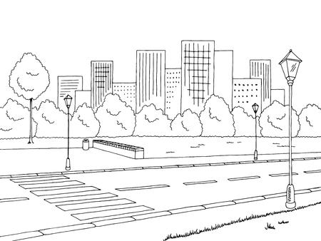 ストリート道路グラフィックの黒白い風景スケッチ イラスト  イラスト・ベクター素材