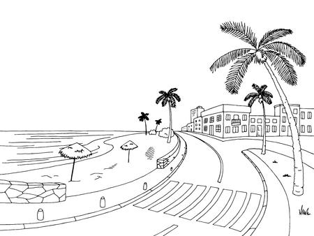 Street road palm tree graphic black white landscape sketch illustration. 向量圖像