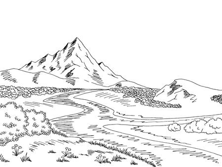 Mountain river graphic black white landscape sketch illustration vector