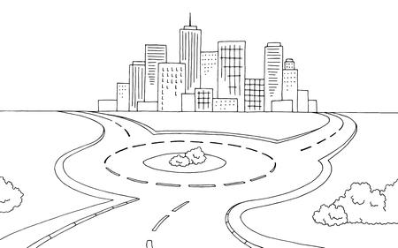 Rond-point route graphique noir blanc paysage croquis illustration vecteur