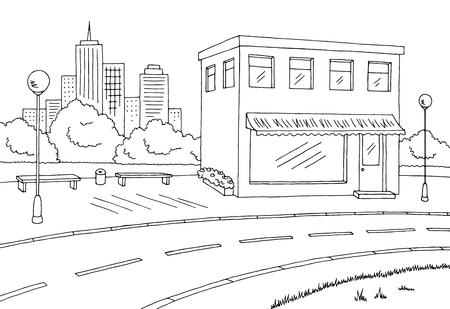 Street road graphic black white landscape sketch illustration vector