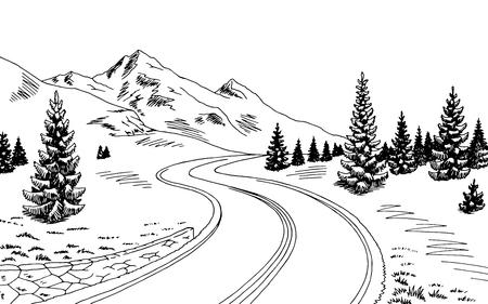 Mountain road graphic black white landscape sketch illustration vector