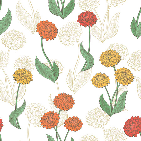 Dahlia flower graphic color seamless pattern sketch illustration vector