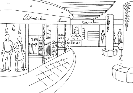 Shopping mall graphic black white interior sketch illustration vector Stock Illustratie