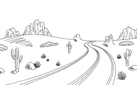 Prairie road graphic black white landscape sketch illustration vector