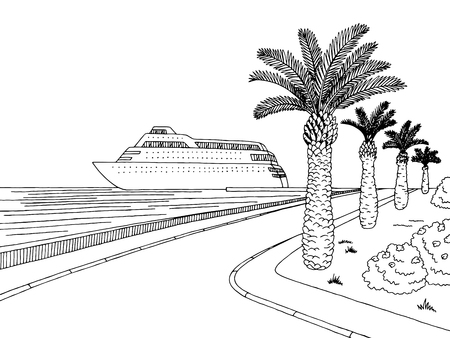 Seafront pier graphic cruise ship black white landscape sketch illustration vector