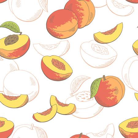 복숭아 과일 그래픽 색상 원활한 패턴 스케치 벡터 일러스트 레이션