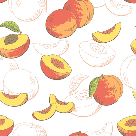 Peach fruit graphic color seamless pattern sketch illustration vector