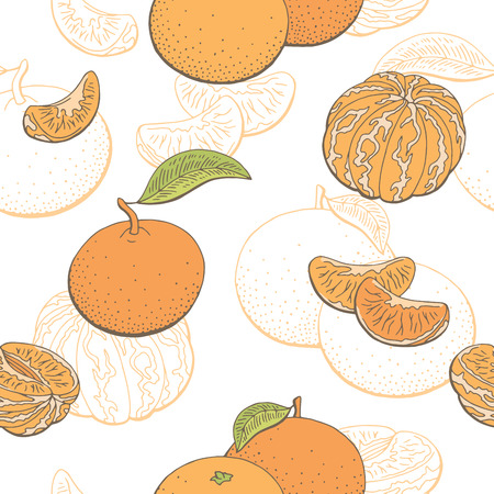 Mandarin fruit graphic color seamless pattern sketch illustration vector