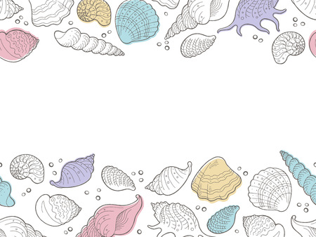 helix border: Shell graphic color seamless background sketch illustration vector Illustration