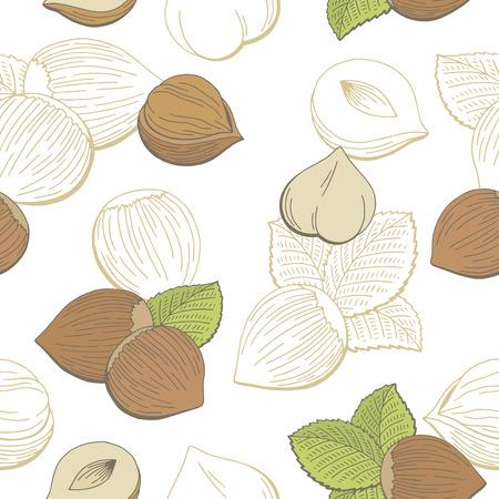 Hazelnut graphic color seamless pattern sketch illustration vector