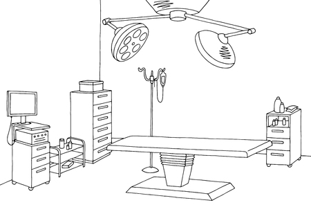 Operating room graphic black white interior sketch illustration vector