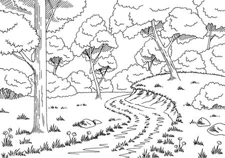 rural road: Forest road graphic black white landscape sketch illustration vector