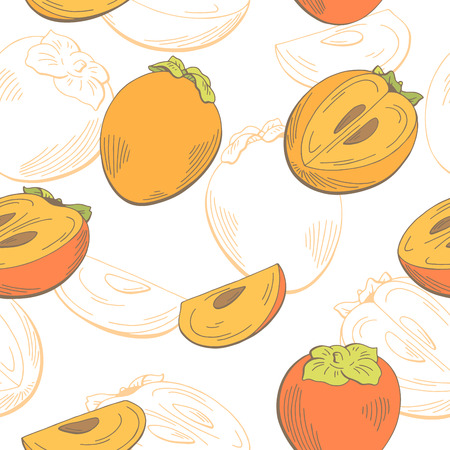 Persimmon fruit graphic color seamless pattern sketch illustration vector