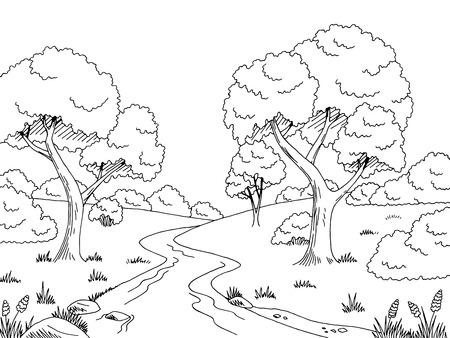 Forest river graphic black white landscape sketch illustration vector