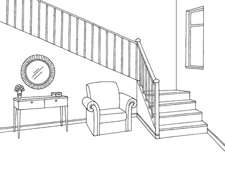 Couloir, graphique, escaliers, noir, blanc, intérieur, croquis, illustration, vecteur