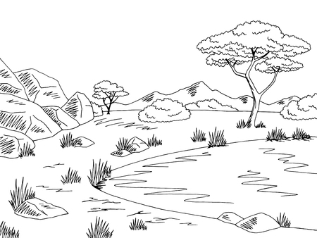 river: Savannah graphic black white lake landscape sketch illustration vector