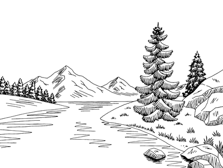 Mountain river graphic black white landscape sketch illustration vector