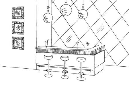 Cafe bar graphic black white interior sketch illustration vector Vetores