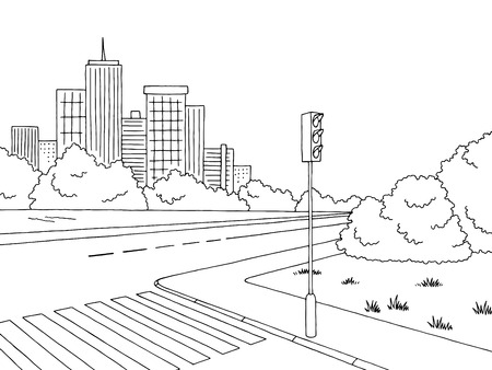 Crossroad graphic black white landscape sketch illustration vector