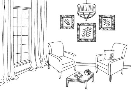 Living room graphic black white interior sketch illustration vector