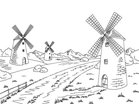 rural road: Road mill graphic black white sketch illustration vector