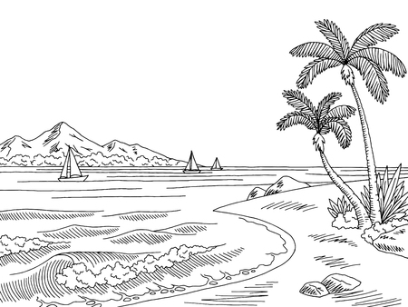 Sea bay graphic black white landscape sketch illustration vector